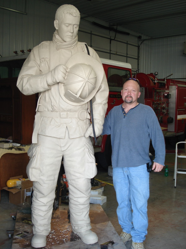 TN Fallen Firefighter Memorial (clay) and sculptor Scott Wise